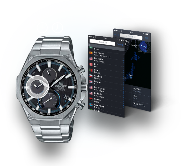6075775dbce6 ... the dual time display allows wearers to easily view a second time. The  CASIO Watch+ app allows you to select the time in hundreds of cities.