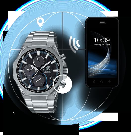 ... symbolem Bluetooth® se hodinky EDIFICE pomocí technologie Bluetooth®  spojí se smartphonem a kdekoli na světe se automaticky nastaví přesný  místní čas. e171a300e97
